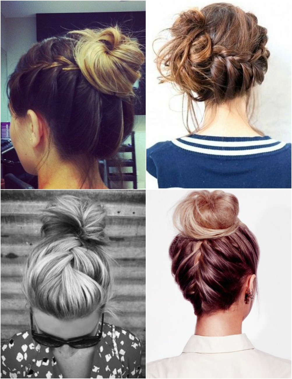 messy hair buns, top knot, french braid plait