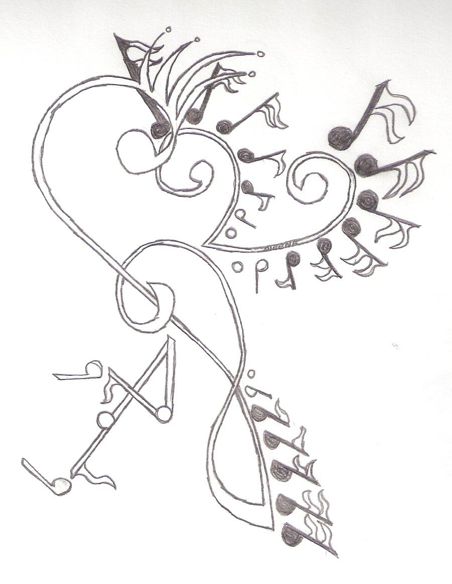 Drawing of Music Notes Tattoos Music Notes Drawing Tattoos