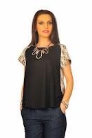 Bluza neagra din jerse si dantela D2120 (Ama Fashion)