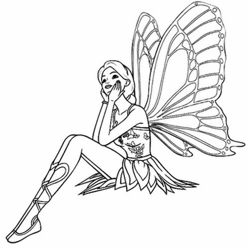 Fairy with butterfly wings tattoo stencil