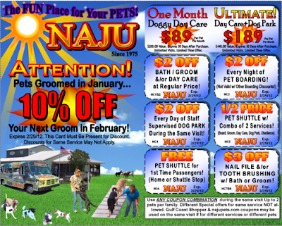 Creative Printing of Bay County - Panama City, Florida -NAJU Boarding & Grooming - Coupon - Postcard