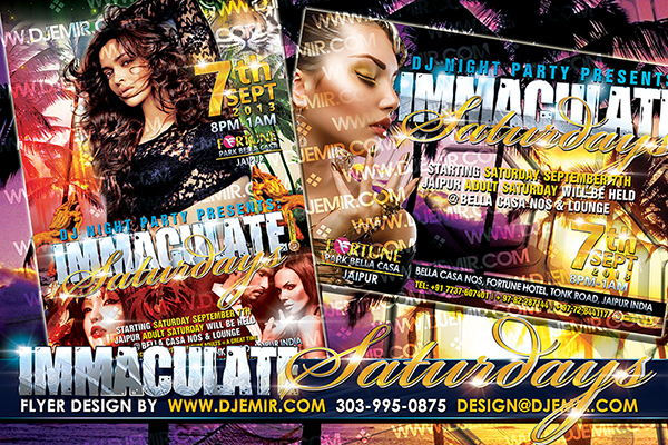Immaculate Saturdays Jaipur India Bollywood Party Flyer Design