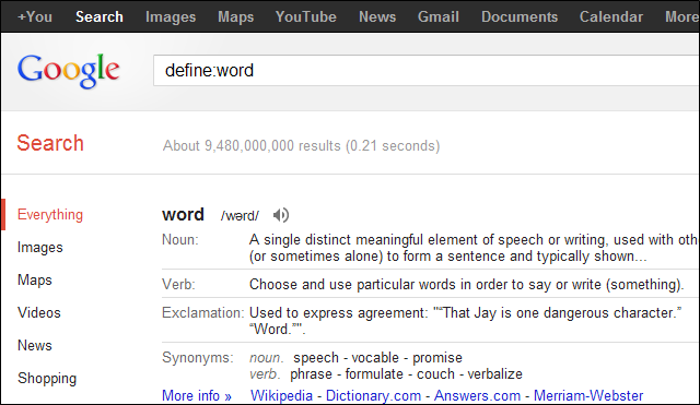 The define: operator to see the word's definition - example, define:word
