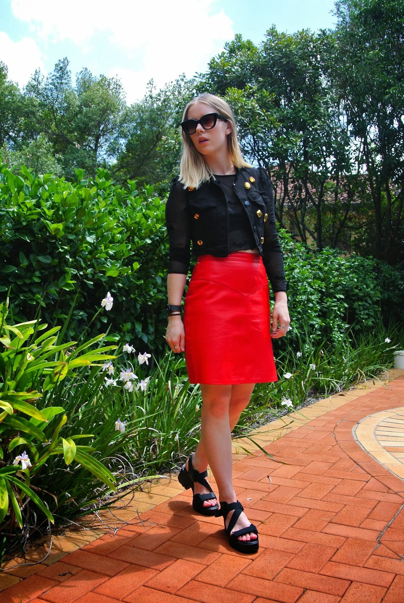 red leather skirt, Romance Was Born vest, fashion blogger, OOTD, lazy oaf batman top, bats crop top, vintage OOTD blogger