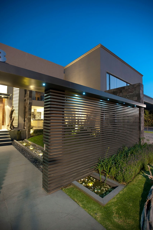 Modern home entrance facade