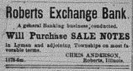 Roberts Exchange Bank 1888 Ad