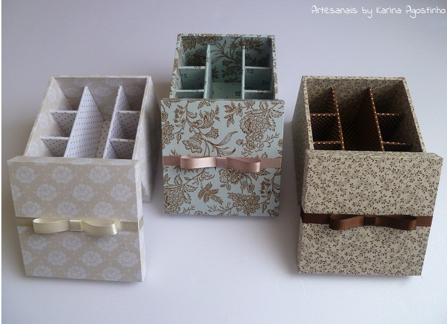 artesanais trio de caixas porta batom. Black Bedroom Furniture Sets. Home Design Ideas