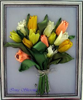 как вышить лентами тюльпаны