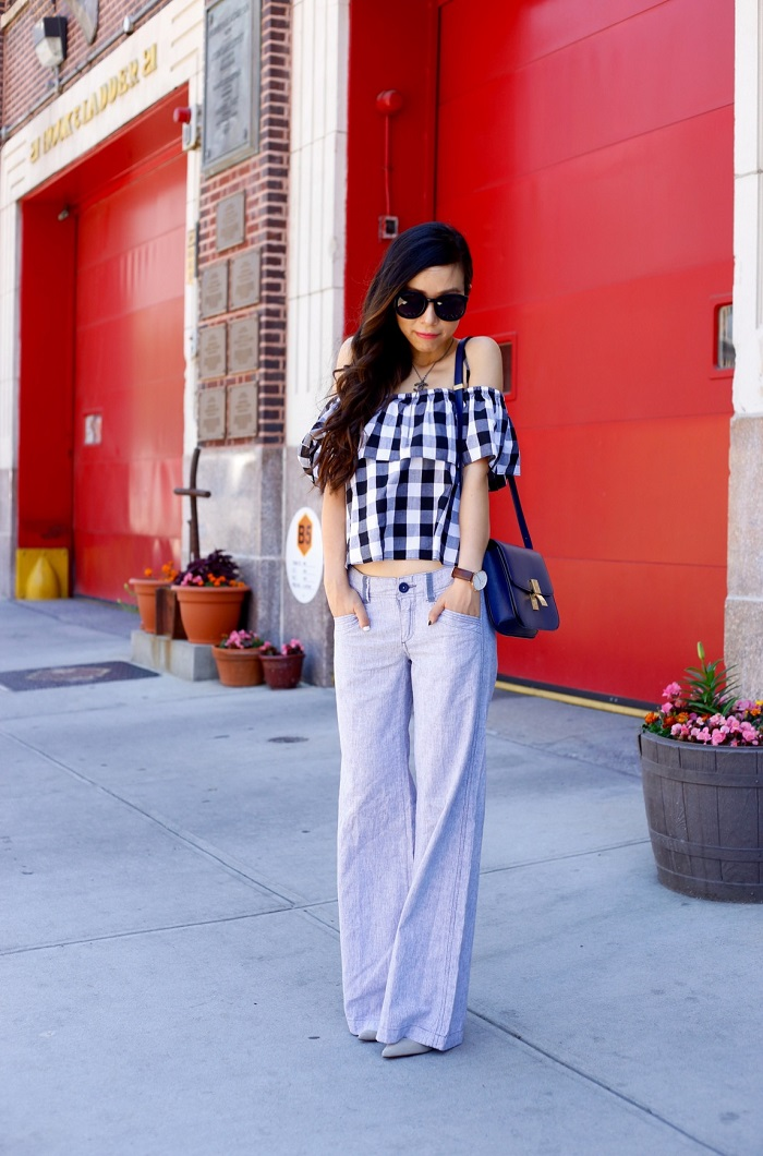 Anthropologie gingham picnic top, anthropologie pilcro linen trousers, celine classic box bag, chanel necklace, daniel wellington watches, schutz heels, karen walker super duper sunglasses, casual weekend outfit, fashion blog