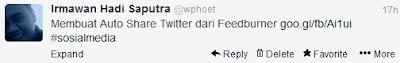 Contoh penampakan auto update status twitter dari web menggunakan feedburner