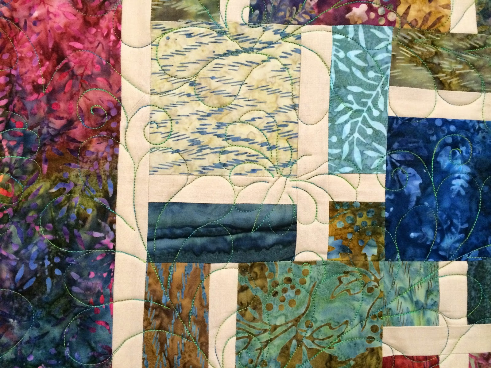 Donna Marie Urban's Batik Disappearing Nine Patch Quilt