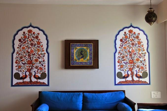 Rajasthani motif wall mural