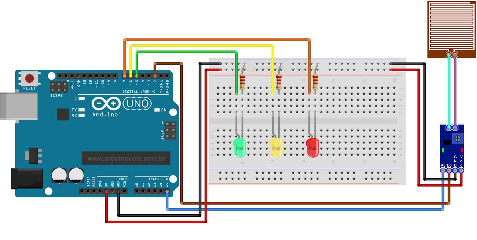 Circuito Sensor de Chuva Arduino Uno