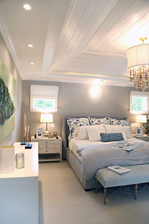 Iheart organizing mn showcase home tour Shiplap tray ceiling