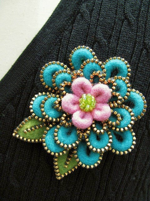Felt and Zipper Art Flower brooch by Odile Golva