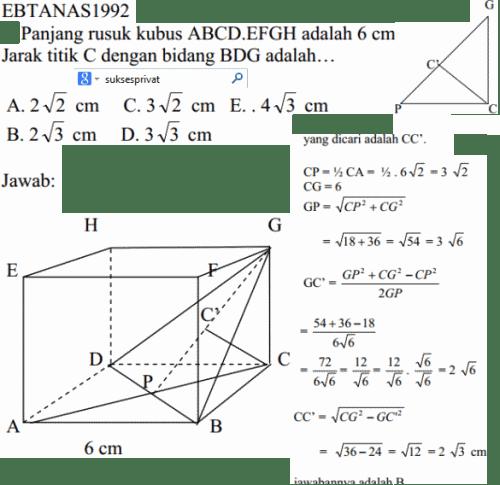 Cara menghitung jarak titik ke bidang pada kubus
