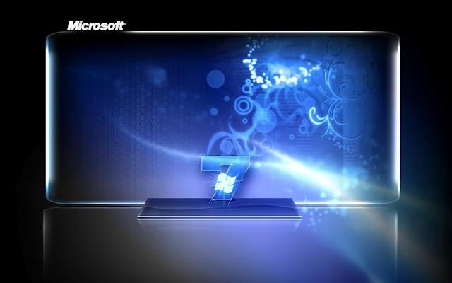 Blauw zwarte Windows 7 achtergrond met een moderne uitstraling