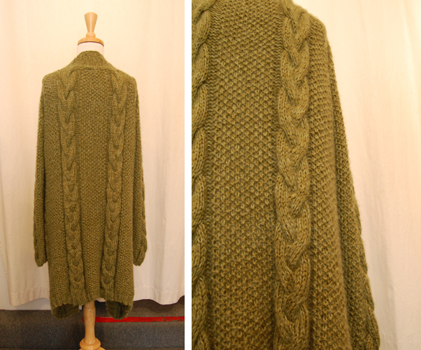 Knitting Pattern For Long Sweater Coat : Jennifer Knits Los Angeles: Jennifer Knits Cable Seed Coat Custom Hand Knit P...