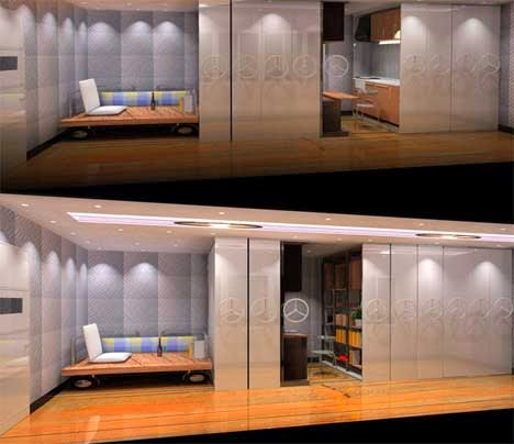 flexible sliding door to construct kitchen and working area