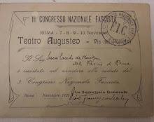 Tessera del 3° congresso nazionale fascista novembre 1921(collezione vianellocolleziomismo)