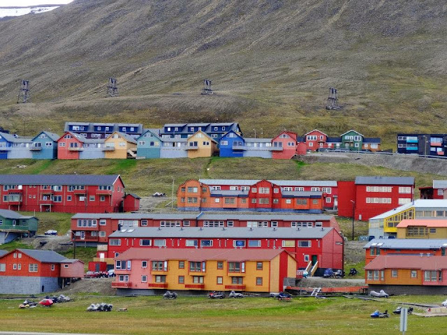 Colourful log houses in Longyearbyen, Svalbard