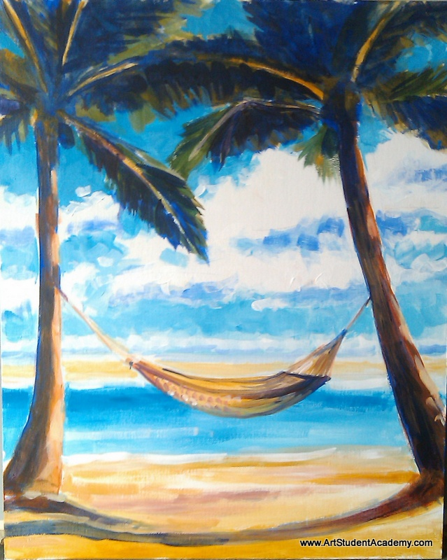 Art Student Academy: Hammock on the Beach, Dolphins and Abstract Cows!