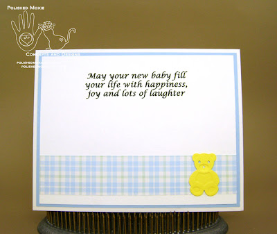 Picture of the inside of my handmade sleeping teddy bear baby card