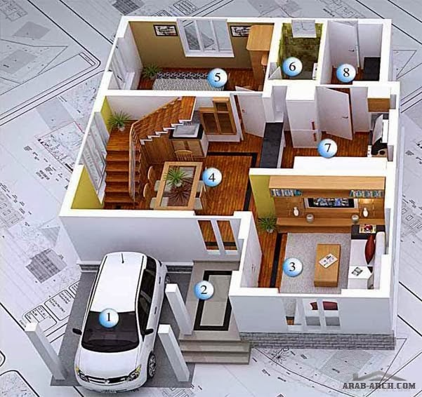 3d modern house plans collection for Home plans 3d designs