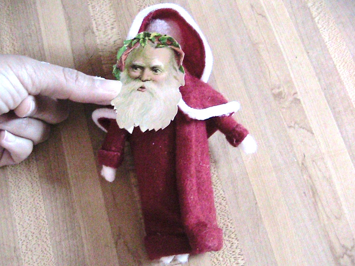 Santa face ornaments - Glue The Cape And Hat To Body And Glue A Santa Chromolithograph Face You Can Find This Santa Face At The Ghaphics Fairy Blog And Print It