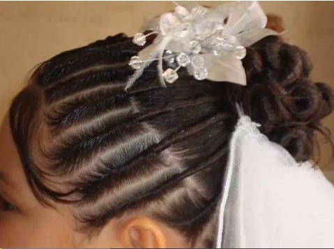 Peinados para niñas de Primera Comunión con recogidos y trenzas  - Peinados Para Niña Para Primera Comunion