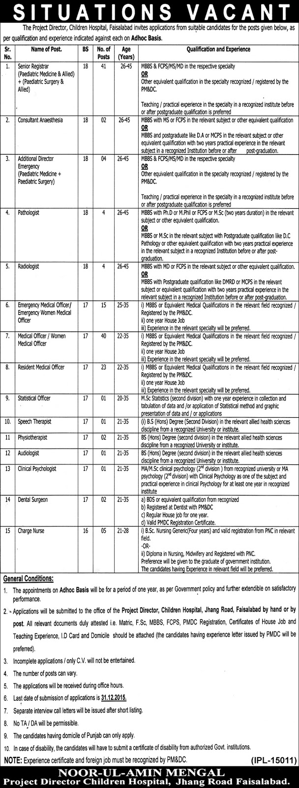 MBBS Doctors & Nurses / Other Jobs in  Children Hospital Faisalabad