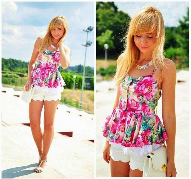 Sheinside Red Spaghetti Strap Floral Ruffles Vest