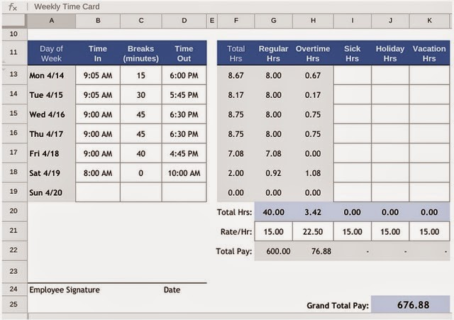 Time Card Calculator for Small Businesses