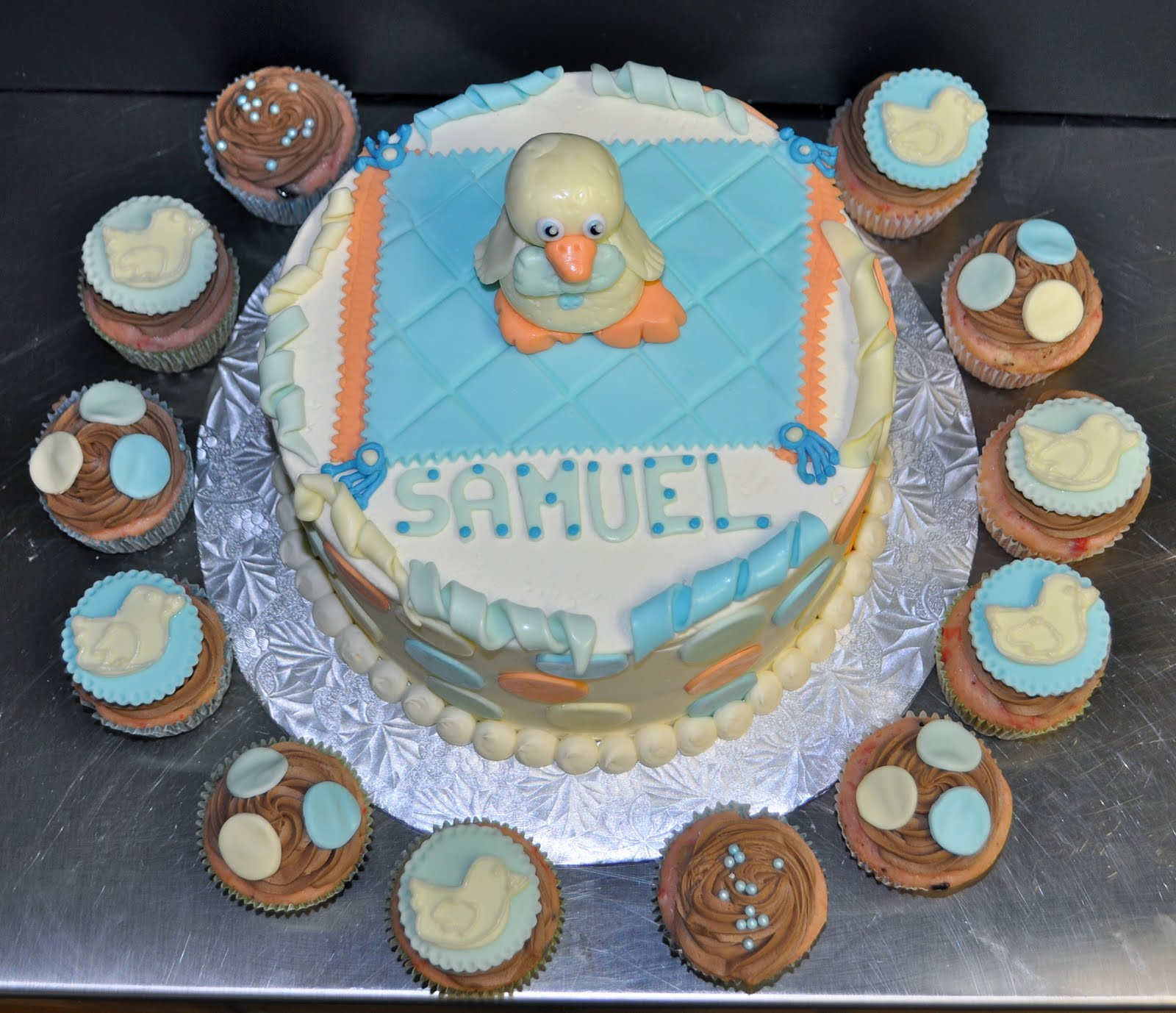 Leahs Sweet Treats Baby Duck Baby Shower Cake Cupcakes