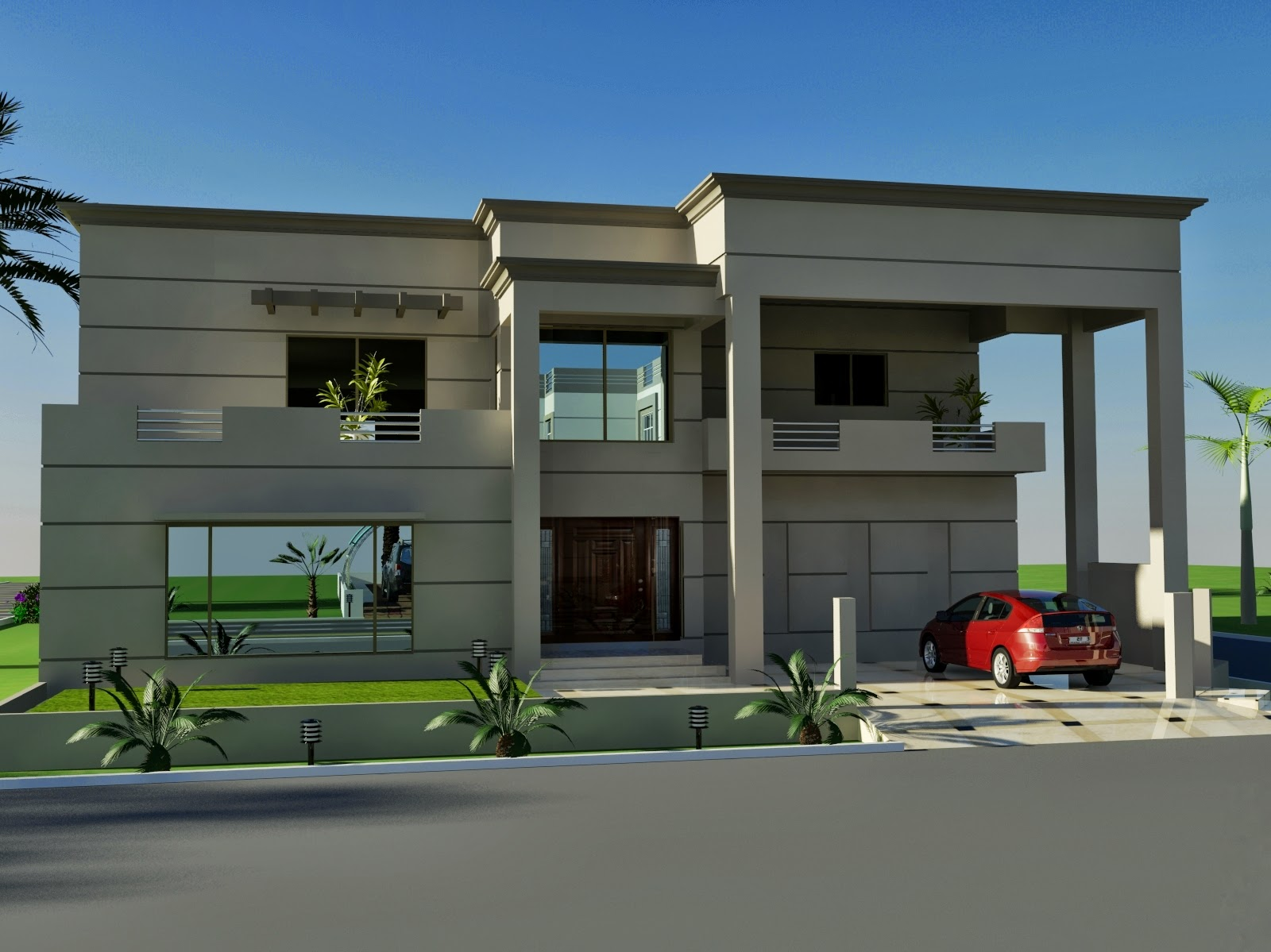 3D Front Elevation.com: Drawing Room House-Home-Contemporary