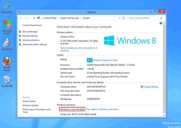 windows 8 pro is not activated