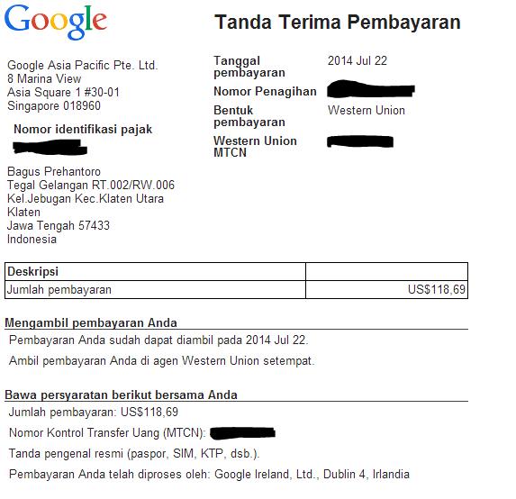 Tanda Terima Pembayaran Google Adsense, Gaji pertama google adsense