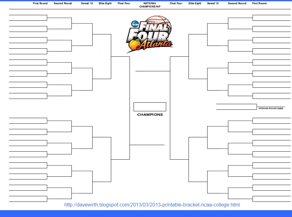 Blank NCAA Basketball Tournament Bracket
