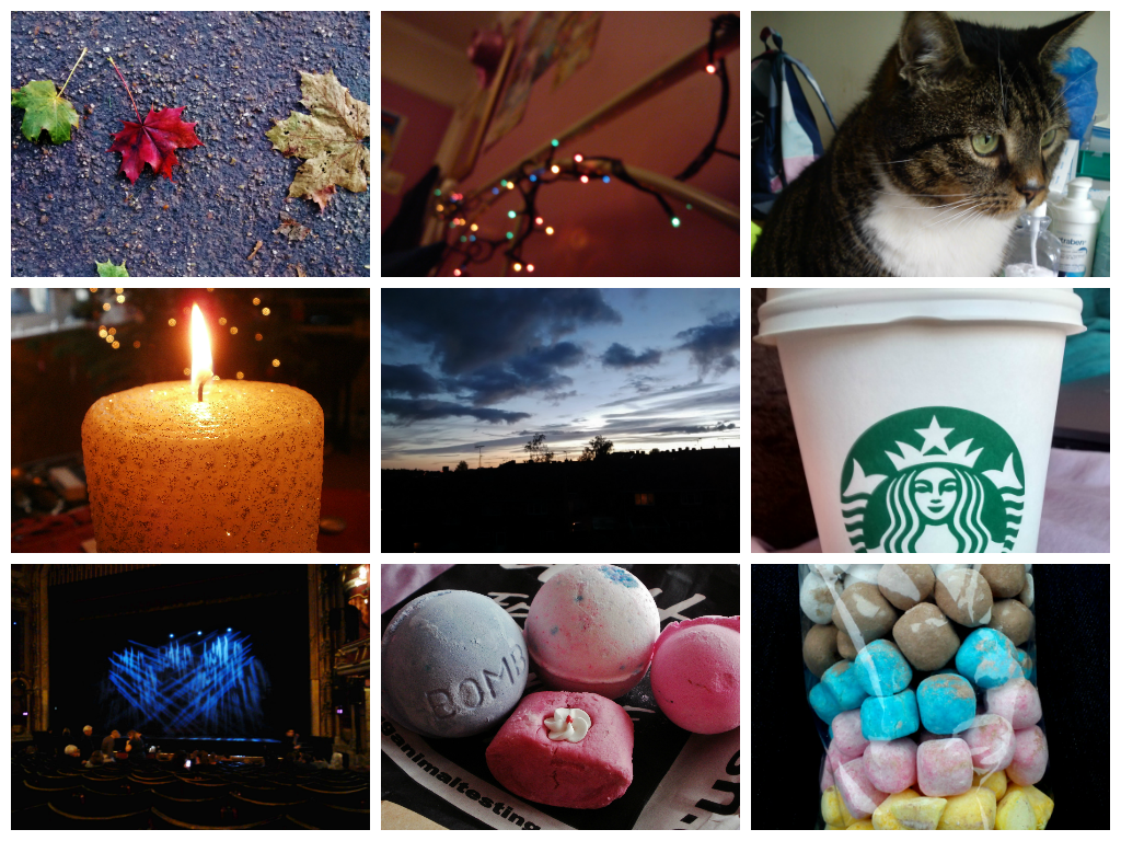 sweets, cats, autumn, leaves, LUSH, theatre, fairy lights, starbucks