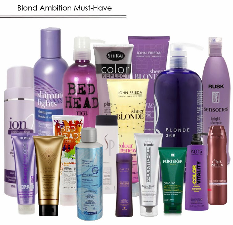 Purple shampoos blond hair tone correcting