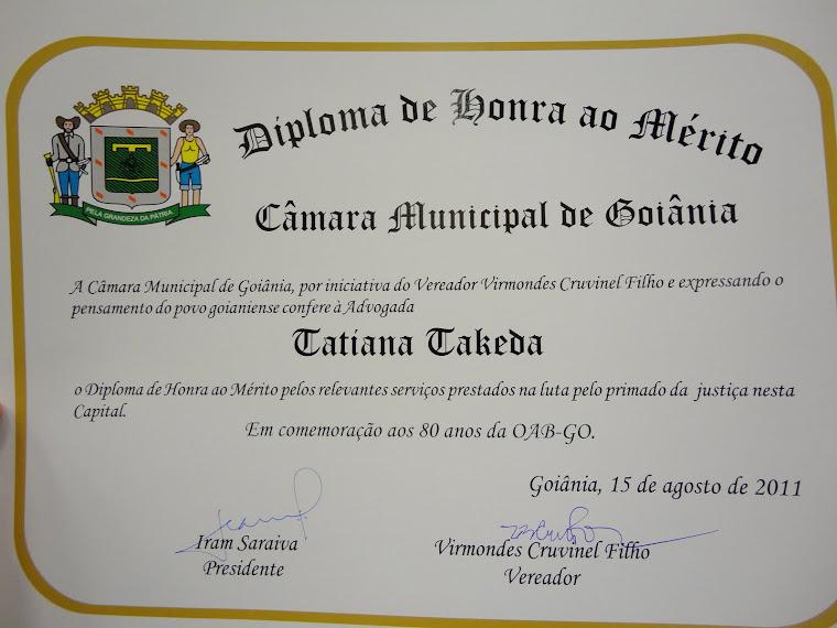 Homenagem da Câmara Municipal de Goiânia