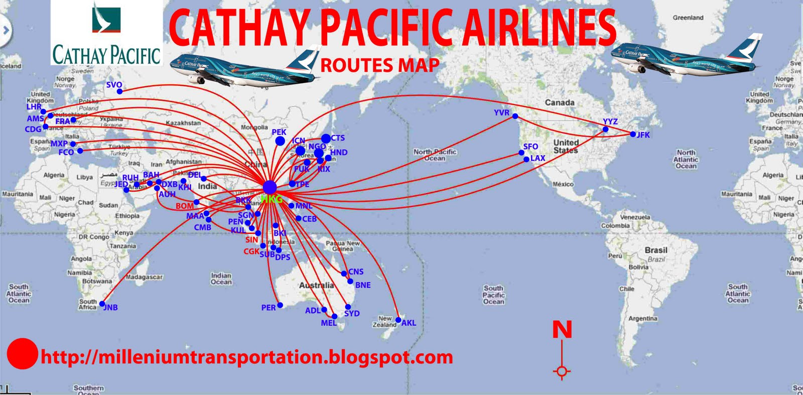 Cathay Pacific Destinations Map