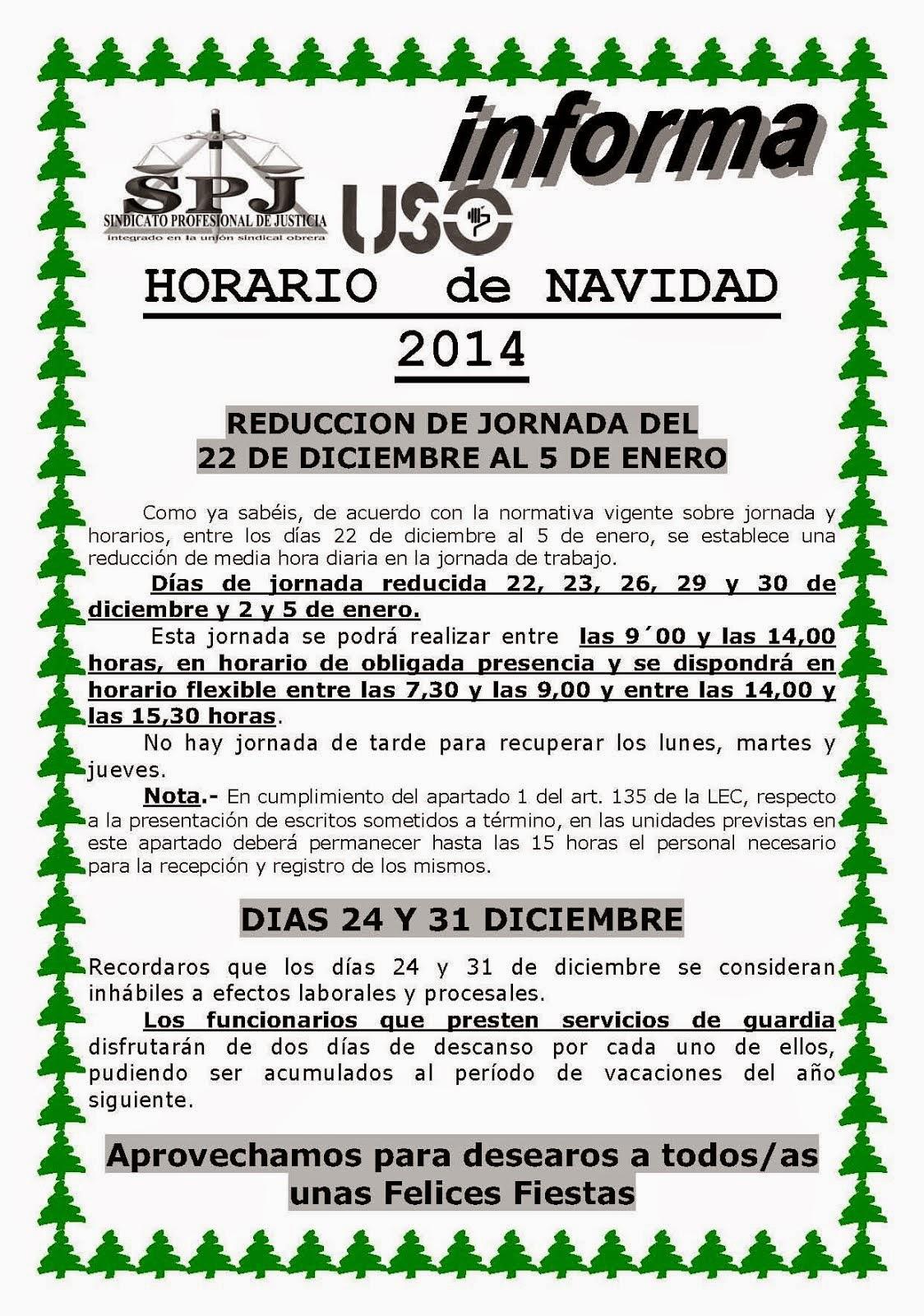 HORARIO NAVIDAD 2014