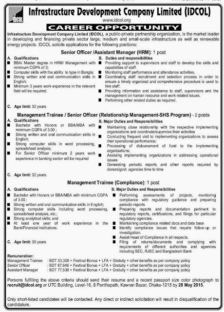 Post: Senior Officer, Assistant Manager-HRM and More