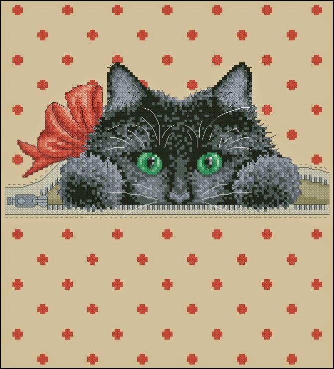 Схема вышивки кот из кармана