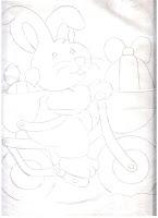 coelho com bicicleta e ovos