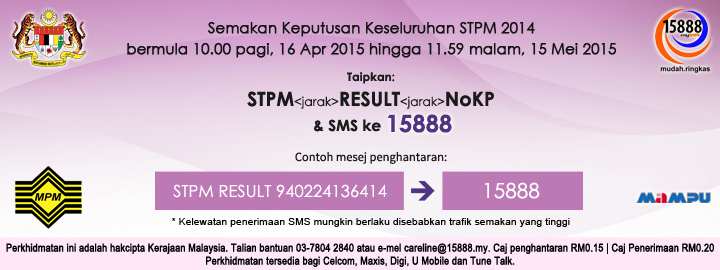 Semakan Keputusan Keseluruhan STPM 2014 Online Dan SMS