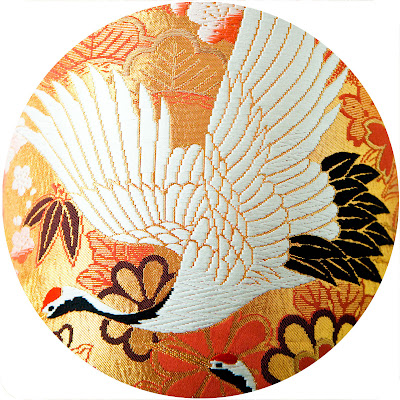 Embroidered Crane vintage kimono cushion by Hunted and Stuffed