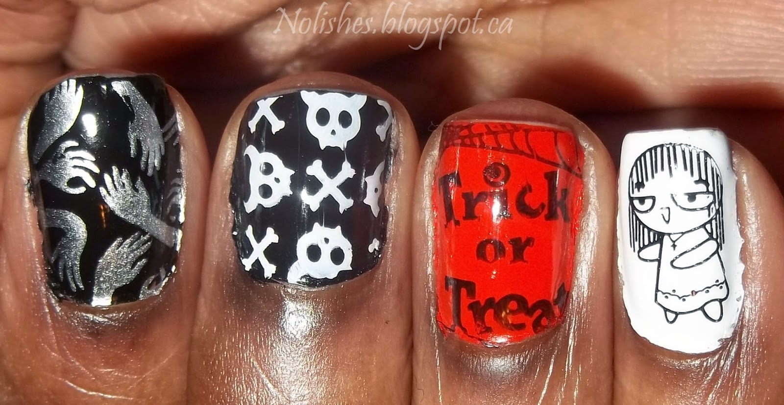 Halloween Themed Nail Stamping Manicure using Orange, Black, Silver, White and Yellow Nail Polishes (Right Fingers)