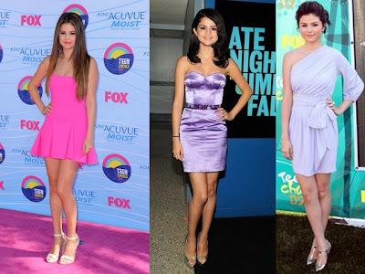 Pink e lilás de Selena Gomes